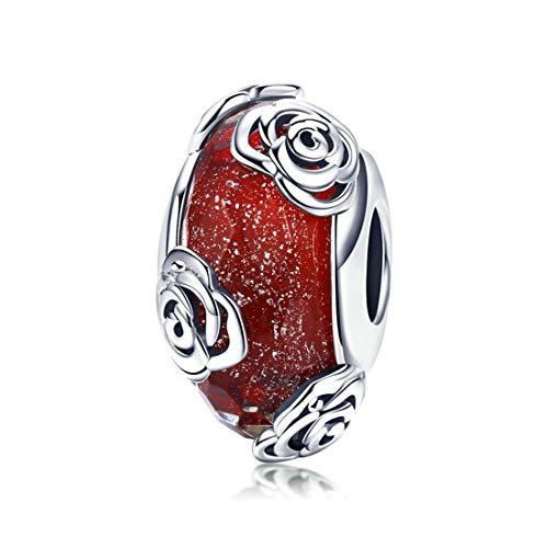 LeeFeel Sterling Silver Rose Glass Beads Red Flowers Murano Glass Bead Charms Fit for Bracelet Jewelry Making - Silver Flower Charm Sterling
