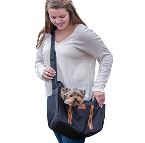 (Pet Gear R&R Sling Carrier for Cats/Dogs, Storage Pockets, Removable Washable Liner, Zippered Top with Mesh Window)