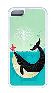 iPhone 5C Case, Personalized Custom Rubber TPU White Case for iphone 5C - Whale Cover
