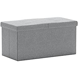 "Otto & Ben 30"" Storage Ottoman - Folding Toy Box Chest with Smart Lift Top, Linen Fabric Ottomans Bench Foot Rest for Bedroom, Light Grey"