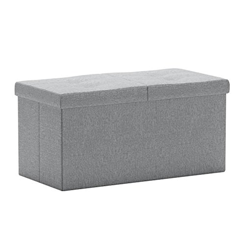 """Otto & Ben 30"""" Storage Ottoman - Folding Toy Box Chest with Smart Lift Top, Linen Fabric Ottomans Bench Foot Rest for Bedroom, Light Grey"""