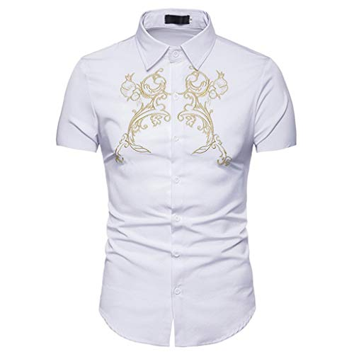 - Rakkiss_Men Shirts Fashion Solid Embroidery Exquisite Tops Lapel Slim Fit Blouse Summer Short Sleeve Tee