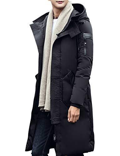 BESBOMIG Jacket Size Water Black Lightweight Outdoor Windbreaker Down Winter Mens Eiderdown Casual Long Large Outwear Warm Resistant Hooded rqawIr4g