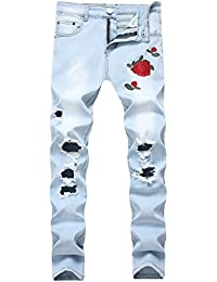 Men's Slim Fit Stretch Pants Ripped Black Jeans with Floral Rose Embroidery