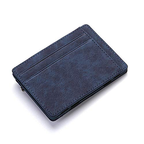 AWMYHKDW Ultra Thin New Pu Leather Wallet Mini Magic Wallets and Zipper Coin Purse Plastic Credit Card Case Holder Coin Pouch, Blue