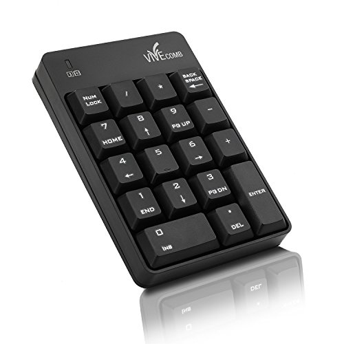 Wireless Numeric Keypad, Vive Comb External Number Pad Portable Numpad With 2.4G Mini USB Receiver for Laptop, Desktop, PC, Notebook-Black by Vive Comb (Image #5)