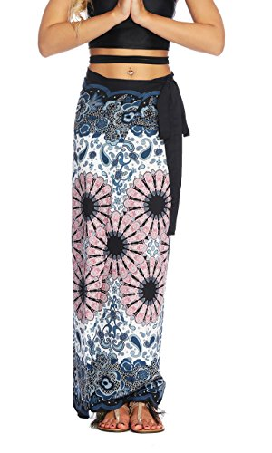 Women's Boho Bohemian Hippie Skirt Long Maxi Print Wrap Skirt Cover up Maxi Asymmetrical Summer Beach Skirt One Size Tie High Waist (007)