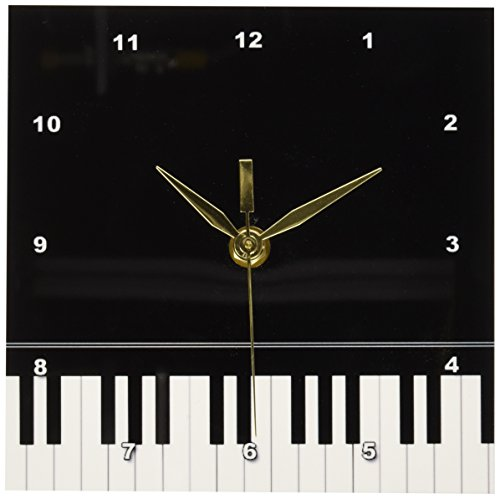 3dRose dc_112947_1 Black Piano Edge Baby Grand Keyboard Music Design for Pianist Musical Player and Musician Gifts Desk Clock, 6 by 6-Inch