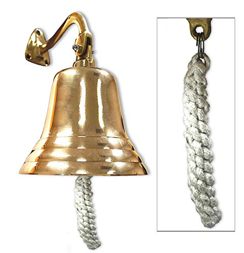 "Wall Hanging Ship Bell with Rope Polished Dinner Bell Tip Bell Indoor/Outdoor Nautical Decoration Bells Variety with Mounting Hardware Bracket Ship Boat Maritime Decor (6"" Brass)"