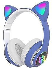 Modonghua Meisje Draadloze Gaming Headset, Leuke Kat Oor Headset met LED-verlichting, Noise Cancelling Stereo Gaming Hoofdtelefoon, Mode Bluetooth 5.0 Headset voor Kinderen & Volwassenen Dragen