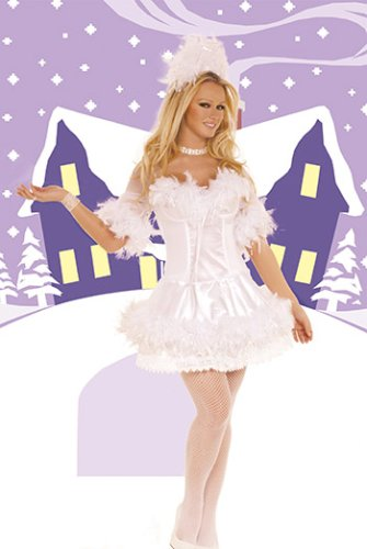 Bodice Satin Costumes (Snow Princess Costume Includes Satin Mini Dress with Underwire Cups, Boning, and Sleeves. Bodice, Sleeves, and Hemline Are Trimmed in Chandelle Feathers with Silver Tinsel. Matching Headpiece Included.)