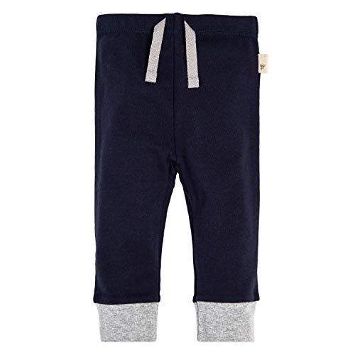 Burt's Bees Baby Sweatpants, Knit Jogger Pants, 100% Organic Cotton, Navy/Grey Cuff, 12 Months