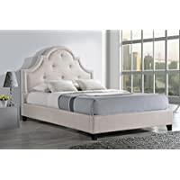 Baxton Studio Colchester Linen Modern Platform Bed, Queen, Light Beige