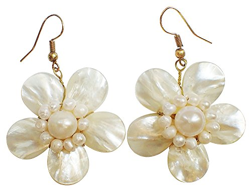 Bijoux De Ja Handmade White Shell Pearl Pollen and Mother of Pearl Flower Dangling Earrings (PDEr)