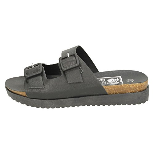 Ladies Down To Earth Flat Casual Sandals Black ABVEAdMGS