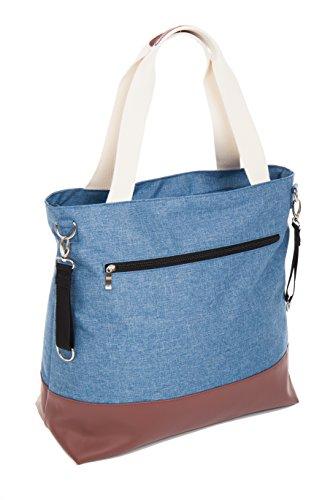 Elegante bolso cambiador Life Incluye Colchón Fijación Ganchos y aislante iertem para biberones gris Gris blue melange