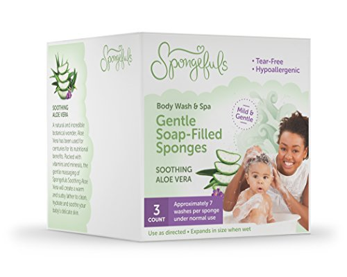 Spongefuls Gentle Soap-Filled Baby Bath Body Wash and Spa, Soothing Aloe Vera