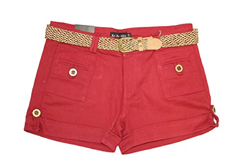 Girls Belted Twill Pants (Ko.Ko.Ailis Twill Junior Sizes stretch Shorts 2.5 inches inseam with fashion belt and cuffs Burgundy-3/4)