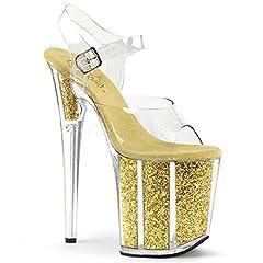 8 (20.3Cm) heel, 4 (10.2Cm) platform ankle strap sandal featuring glitter filled platform bottom