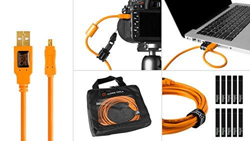 - Starter Tethering Kit w/TetherPro USB 2.0 to Mini-B 8-Pin Cable, 15' (4.6m), High-Visibility Orange