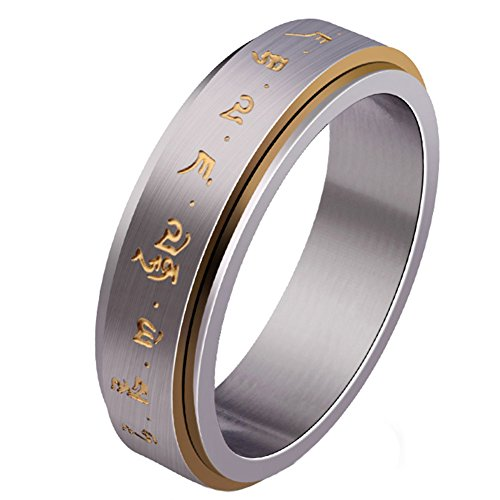 (JAJAFOOK Men's Titanium Steel Transfer Heart Curse Buddha Lucky Amulet Lettering The outer ring is rotatable Ring 6-11)