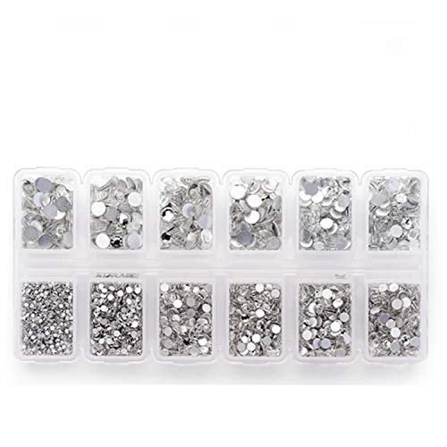 Zealer 1800pcs Clear Crystal Nail Art Rhinestones Round Beads Top Grade Flatback Glass Charms Gems Stones for Nails Decoration Crafts Eye Makeup Clothes Shoes 300pcs Each (Mix SS3 6 10 12 16 20)