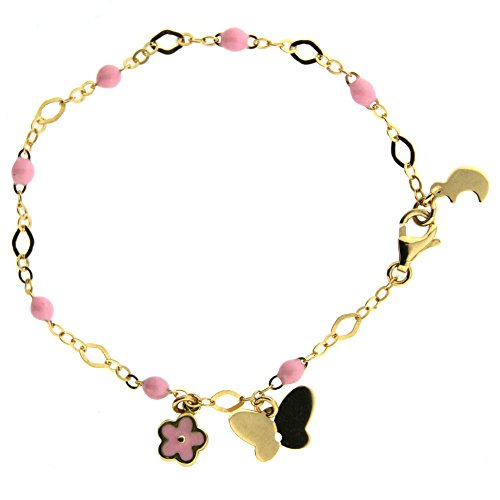18k Yellow Gold Pink Enamel Beads 6 inches Bracelet with one Butterfly and One Pink Enamel Flower Pendant. by Amalia