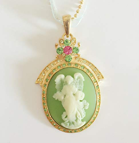 Green Charm Oval - New Angel Vintage Style Cameo Green Floral Oval Charm Lace Chain Necklace #DS-72