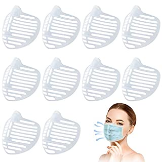 10Pcs 3D Mask Bracket, Face Mask Inner Support Frame Homemade Cloth Mask Cool Silicone Bracket More Space for Comfortable Breathing Washable Reusable Makeup Saver, Clear
