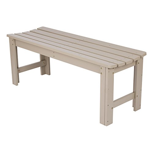 Shine Company Backless Garden Bench, 4-Foot, Taupe ()