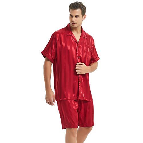 Lonxu Mens Silk Satin Short Pajamas Wine Red 2XL ()