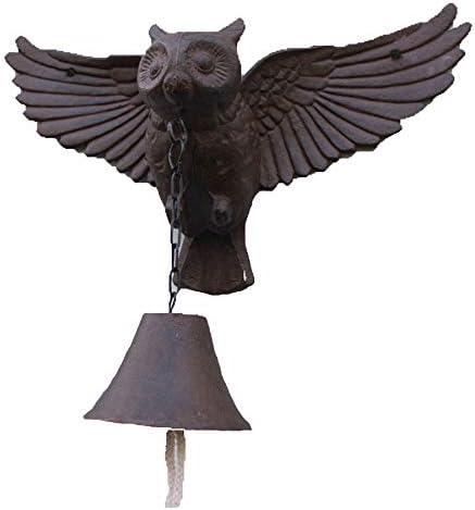 アイアンドアベル 翼フクロウは呼び鈴クラシックディナーベル素朴な金属製ウォールマウントのドアコールベルハンギング鋳鉄 庭の家の壁の芸術の装飾 (色 : C1, Size : As shown)
