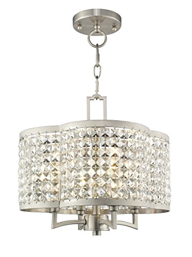 Livex Lighting 50574-91 Gramercy 4-Light Convertible Mini Chandelier/Ceiling Mount, Brushed ()