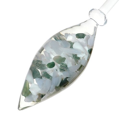 VitaJuwel Momentum Vial Chalcedony, Moss Agate, Milk Opal Gemstone Infused Lead-Free Bohemian Glass - Enhances and Structures Drinking Water (Milk Stones Glass)