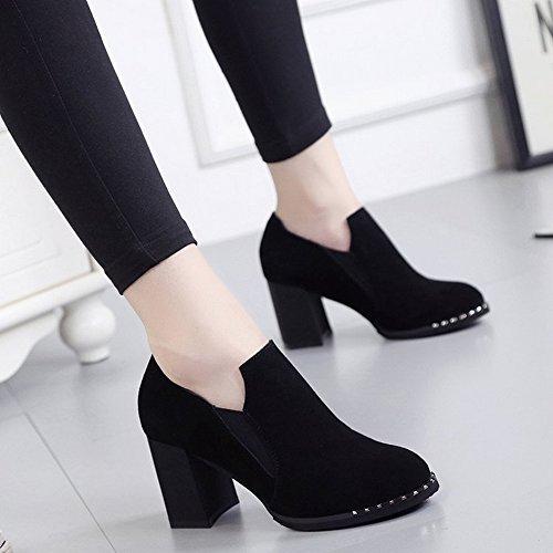 Botas Cortas Puntiagudas con Zapatos de Tacón Alto Y Zapatos de Mujer con Botas Descubiertas , negro , EUR35