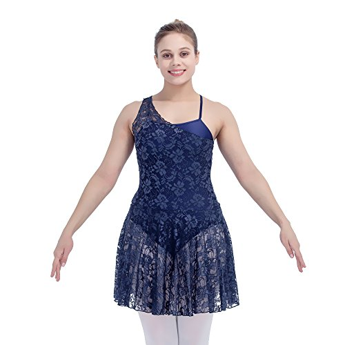 Women Contemporary Lyrical Dance Dress Lace Overlay Nylon Underskirts X-Large Navy (Modern Contemporary Dance Costumes)