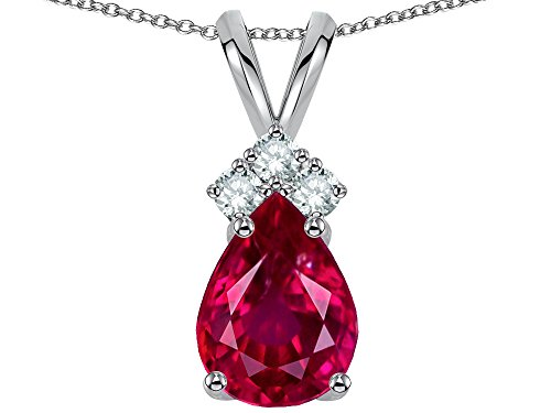 (Star K Pear Shape 8x6mm Created Ruby Rabbit Ear Pendant Necklace 14 kt White Gold)