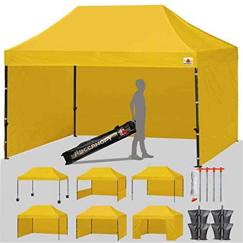 ABCCANOPY 18+ Colors Deluxe 10x15 Pop up Canopy Outdoor Party Tent Commercial Gazebo with Enclosure Walls and Wheeled Carry Bag Bonus 4X Weight Bag and 2X Half Walls (Gold)