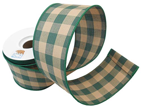 Hunter Green Buffalo Check Country Ribbon - Tea Stained Hunter Green100% Cotton and Wired Edge Ribbon 2 1/2