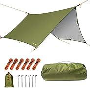 Unigear Hammock Rain Fly Camping Tarp, 15x14FT/12x10FT Multifunctional Waterproof Tent Tarp, Lightweight and C