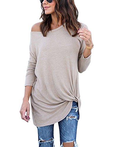 LookbookStore Women's Casual Soft Long Sleeves Knot Side Twist Knit Blouse Top