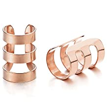 2pcs Mens Womens Rose Gold Stainless Steel Ear Cuff Ear Clip Non-Piercing Clip On Earring