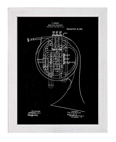 "Brass Wind Instrument Patent Art Black Matte Print in a Distressed White Wood Frame (8.5"" x 11"") M12368"