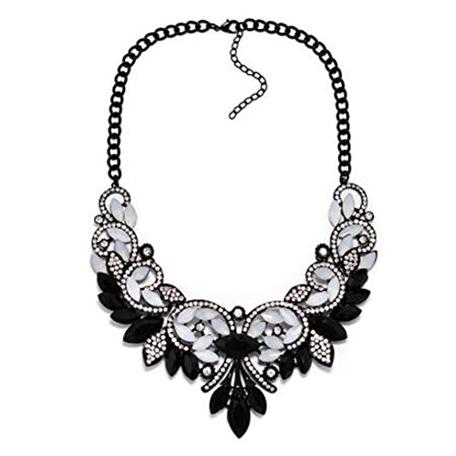 Black And White Costume Jewellery (Fashion Alloy Collar Necklace Costume Jewelry For Womens, White/Black)
