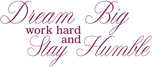 Omega Dream Big work hard and Stay Humble Vinyl Decal Wall Sticker Quote - Large - Purple by Omega