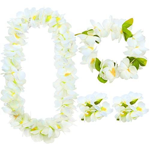 Auerllcy Hawaiian Party Flower Leis Luau Wreath Set - Necklace Headband and Bracelets, Great for Beach Wedding Birthday Holiday Hawaii Theme Party Activity Decoration (White) -
