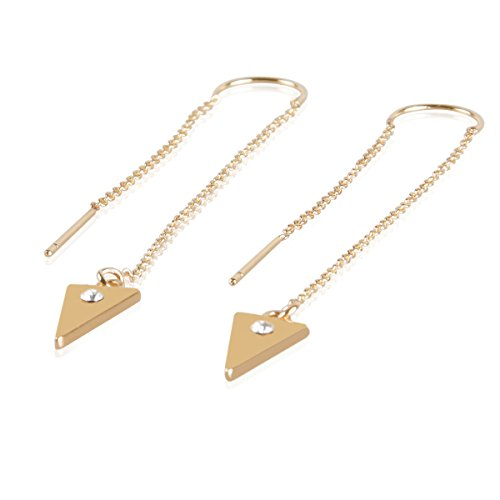 Artisian Crystal (Women's Chic Threaded Bar Dangles Chain Link Wrap Needle Gold Plated Drop Triangle with Crystal Earrings)