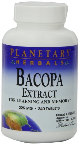 Planetary Herbals Bacopa Extract 225mg, For Learning and Memory,240 Tablets