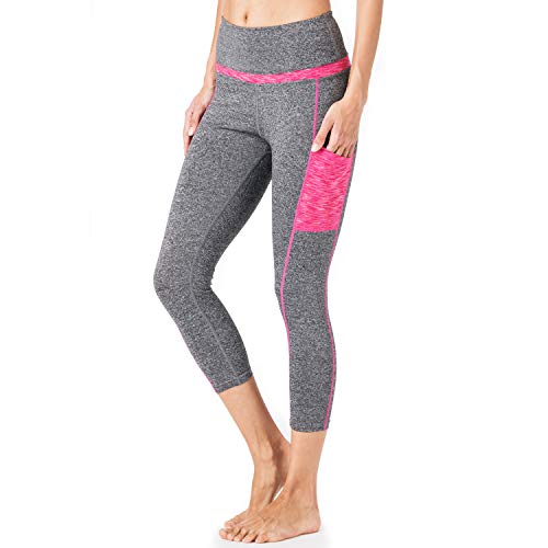 - CHICBAKE Yoga Pants for Women high Waisted Leggings Workout Leggings with Pockets Fabletics Tummy Control (Cropped Trousers Gray-Pink M