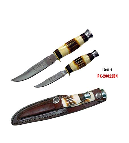 NEW MARK 2 PCS Hunting Knife Bowie Knife Set S.S W/Leather CHEATH.